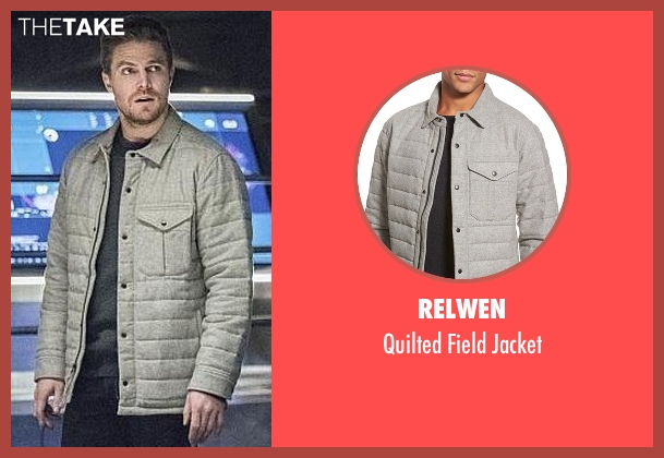 Relwen gray jacket from Arrow seen with Oliver Queen / Green Arrow (Stephen Amell)