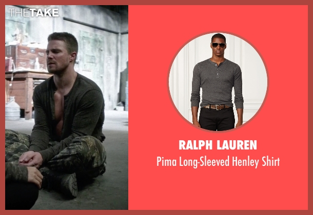 Ralph Lauren gray shirt from Arrow seen with Oliver Queen / Green Arrow (Stephen Amell)
