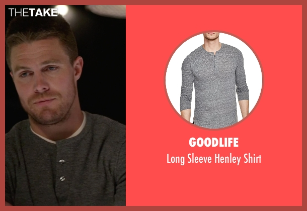 Goodlife gray shirt from Arrow seen with Oliver Queen / Green Arrow (Stephen Amell)