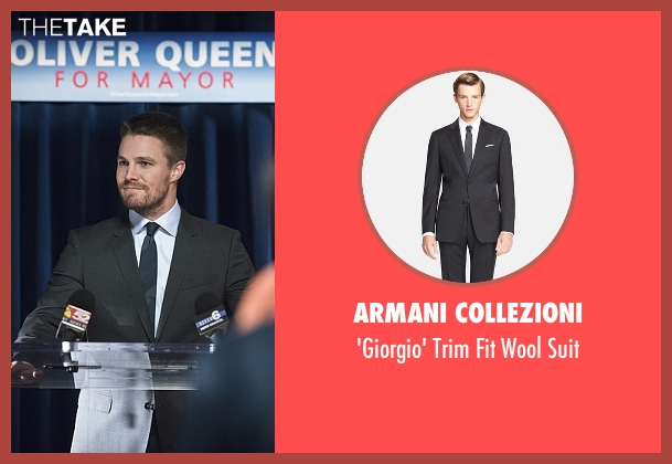Armani Collezioni gray suit from Arrow seen with Oliver Queen / Green Arrow (Stephen Amell)
