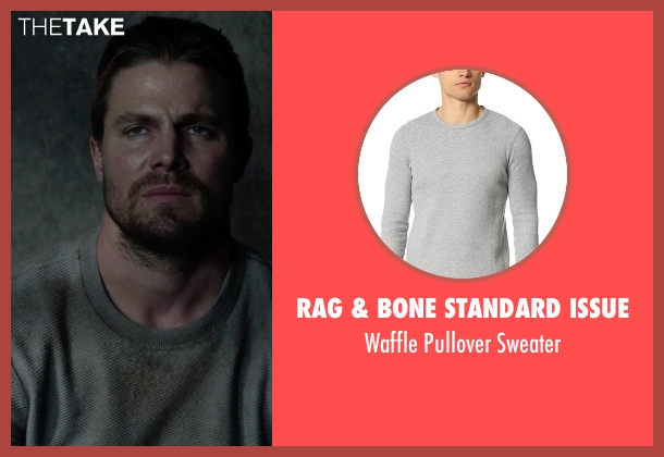 Rag & Bone Standard Issue gray sweater from Arrow seen with Oliver Queen / Green Arrow (Stephen Amell)