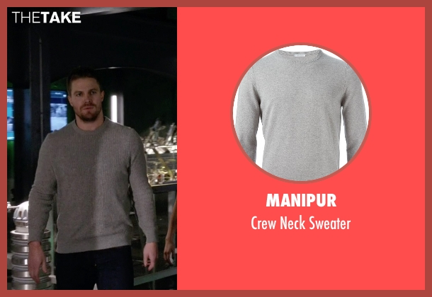 Manipur gray sweater from Arrow seen with Oliver Queen / Green Arrow (Stephen Amell)