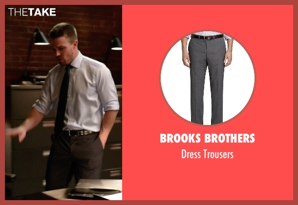 Brooks Brothers gray trousers from Arrow seen with Oliver Queen / Green Arrow (Stephen Amell)