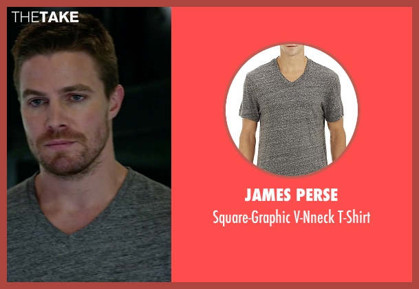 James Perse gray t-shirt from Arrow seen with Oliver Queen / Green Arrow (Stephen Amell)