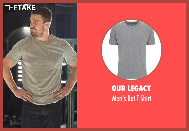 Our Legacy gray t-shirt from Arrow seen with Oliver Queen / Green Arrow (Stephen Amell)