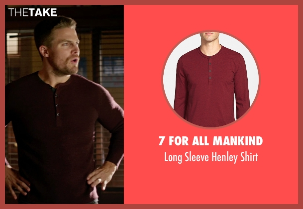 7 For All Mankind red shirt from Arrow seen with Oliver Queen / Green Arrow (Stephen Amell)