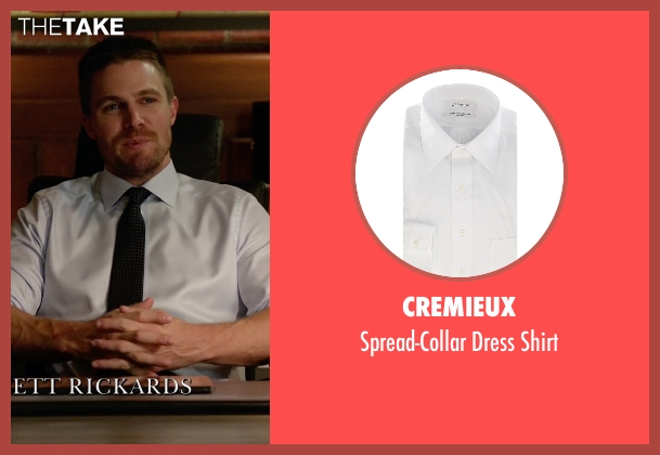 Cremieux white shirt from Arrow seen with Oliver Queen / Green Arrow (Stephen Amell)