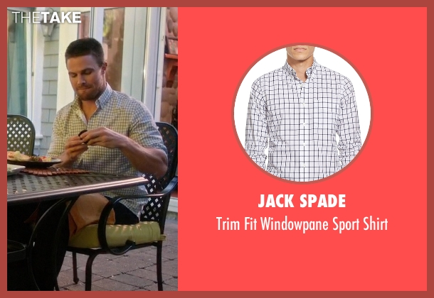Jack Spade white shirt from Arrow seen with Oliver Queen / Green Arrow (Stephen Amell)