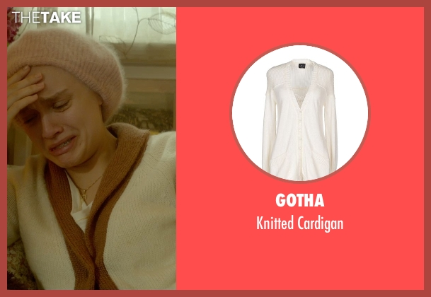 Gotha white cardigan from Me and Earl and the Dying Girl seen with Olivia Cooke (Rachel)
