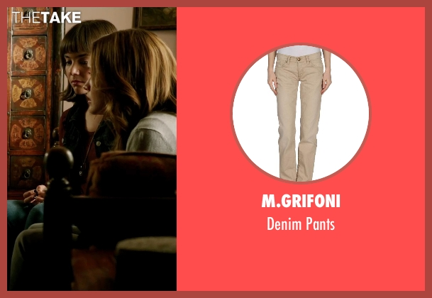 M.Grifoni beige pants from Ouija seen with Olivia Cooke (Elaine Morris)