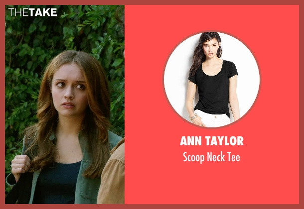 Ann Taylor black tee from Ouija seen with Olivia Cooke (Elaine Morris)