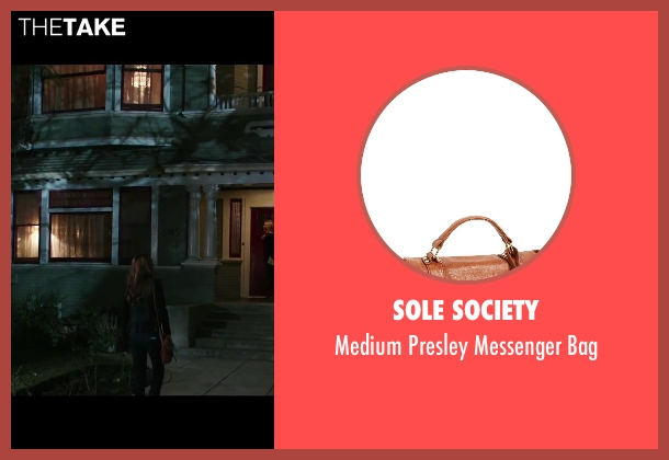 Sole Society brown bag from Ouija seen with Olivia Cooke (Elaine Morris)