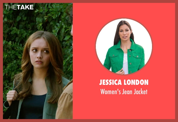 Jessica London green jacket from Ouija seen with Olivia Cooke (Elaine Morris)