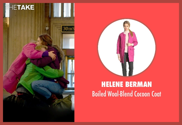 Helene Berman pink coat from The Visit seen with Olivia DeJonge (Unknown Character)