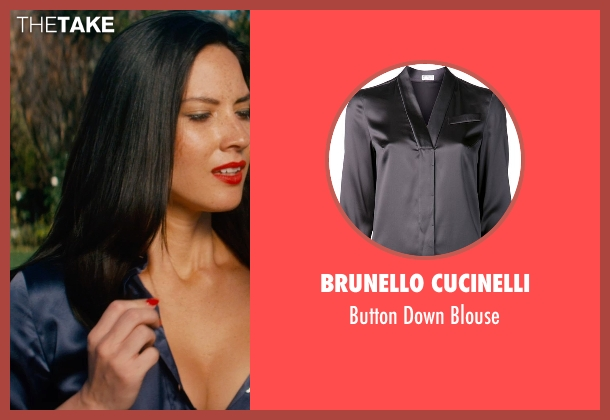 Brunello Cucinelli blue blouse from Mortdecai seen with Olivia Munn (Unknown Character)