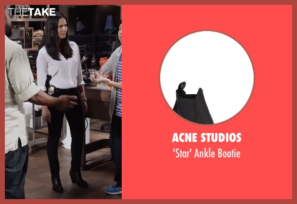 Acne Studios black bootie from Ride Along 2 seen with Olivia Munn (Maya Cruz)