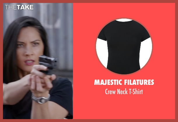 Majestic Filatures black t-shirt from Ride Along 2 seen with Olivia Munn (Maya Cruz)