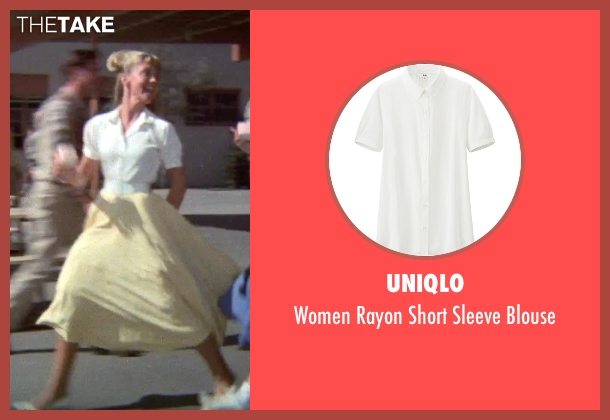 Uniqlo white blouse from Grease seen with Olivia Newton-John (Sandy)