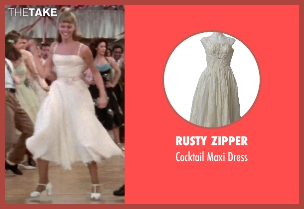 Rusty Zipper white dress from Grease seen with Olivia Newton-John (Sandy)
