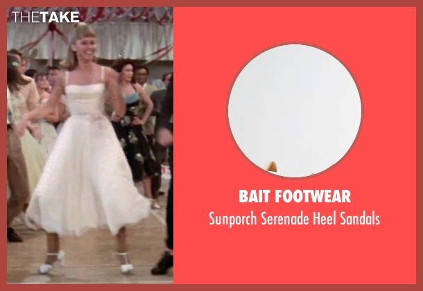Bait Footwear white sandals from Grease seen with Olivia Newton-John (Sandy)