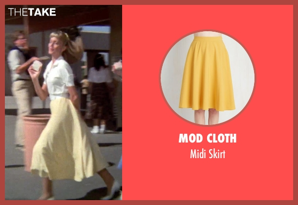 Mod Cloth yellow skirt from Grease seen with Olivia Newton-John (Sandy)