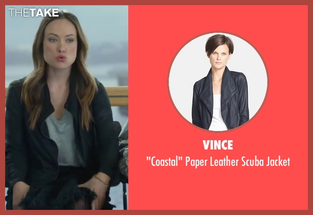 Vince black jacket from Love the Coopers seen with Olivia Wilde (Eleanor)