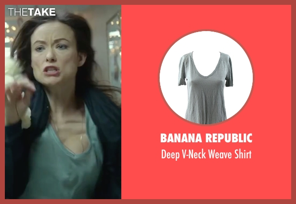 Banana Republic green shirt from Love the Coopers seen with Olivia Wilde (Eleanor)