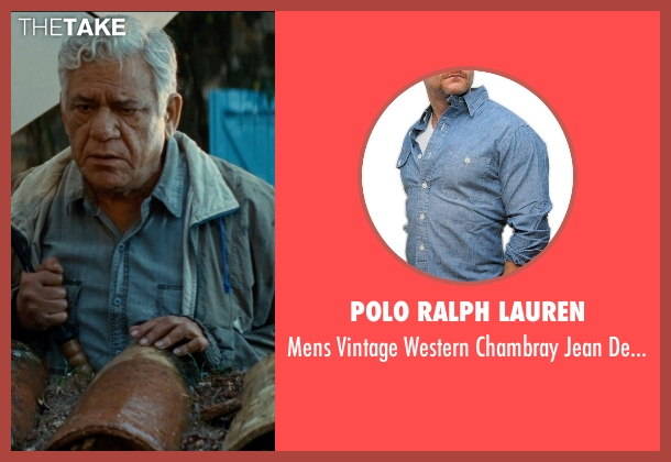 Polo Ralph Lauren blue shirt from The Hundred-Foot Journey seen with Om Puri (Papa)