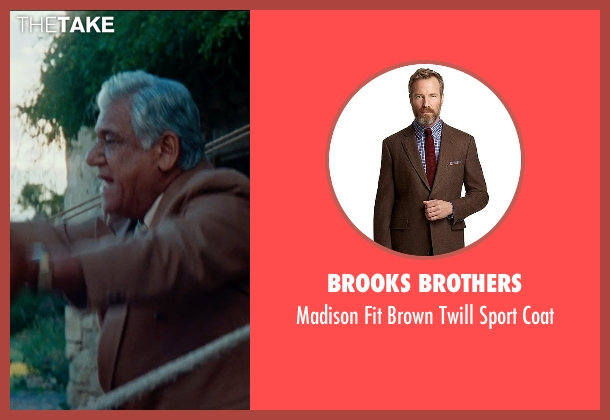 Brooks Brothers brown coat from The Hundred-Foot Journey seen with Om Puri (Papa)