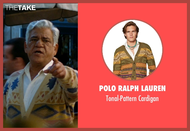 Polo Ralph Lauren cardigan from The Hundred-Foot Journey seen with Om Puri (Papa)