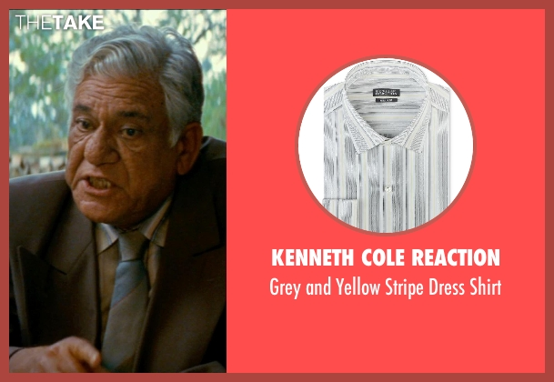 Kenneth Cole Reaction gray shirt from The Hundred-Foot Journey seen with Om Puri (Papa)