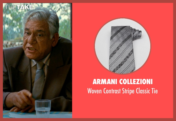 Armani Collezioni gray tie from The Hundred-Foot Journey seen with Om Puri (Papa)
