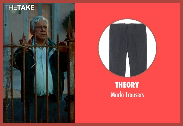 Theory gray trousers from The Hundred-Foot Journey seen with Om Puri (Papa)