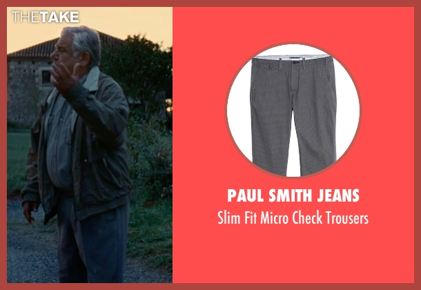 Paul Smith Jeans gray trousers from The Hundred-Foot Journey seen with Om Puri (Papa)