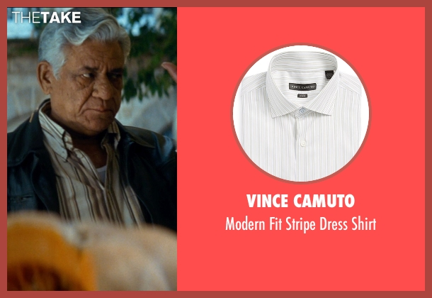 Vince Camuto white shirt from The Hundred-Foot Journey seen with Om Puri (Papa)