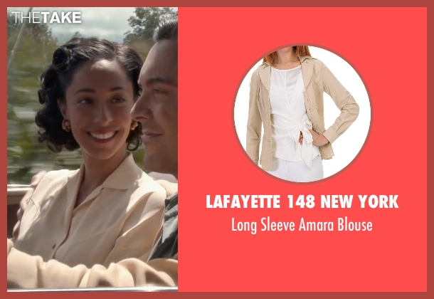 Lafayette 148 New York beige blouse from The Longest Ride seen with Oona Chaplin (Ruth)