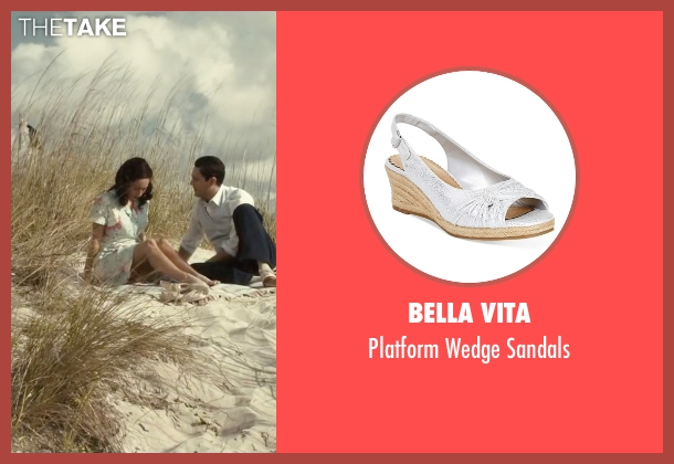 Bella Vita white sandals from The Longest Ride seen with Oona Chaplin (Ruth)
