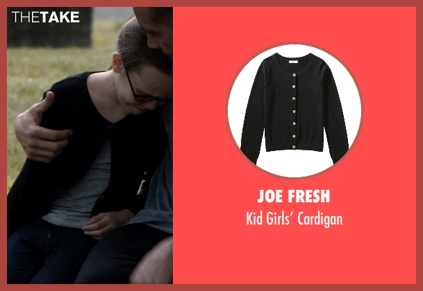 Joe Fresh black cardigan from Southpaw seen with Oona Laurence (Leila Hope)