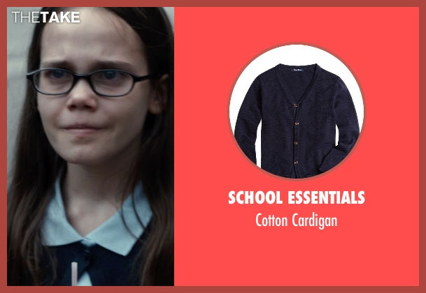 School Essentials blue cardigan from Southpaw seen with Oona Laurence (Leila Hope)