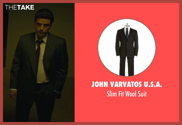 John Varvatos U.S.A. black suit from A Most Violent Year seen with Oscar Isaac (Abel Morales)
