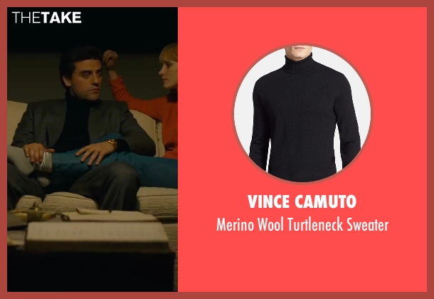 Vince Camuto black sweater from A Most Violent Year seen with Oscar Isaac (Abel Morales)