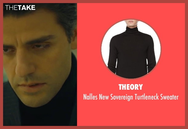 Theory black sweater from A Most Violent Year seen with Oscar Isaac (Abel Morales)