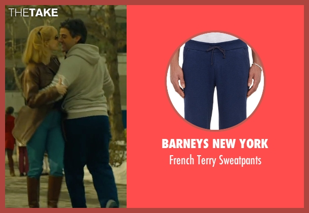 Barneys New York blue sweatpants from A Most Violent Year seen with Oscar Isaac (Abel Morales)