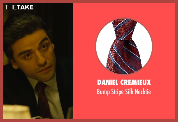 Daniel Cremieux red necktie from A Most Violent Year seen with Oscar Isaac (Abel Morales)