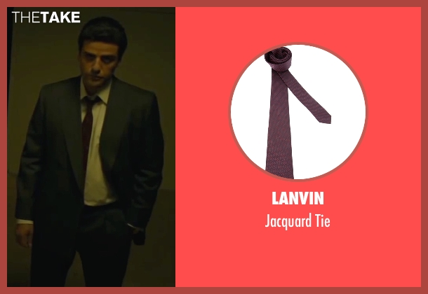 Lanvin red tie from A Most Violent Year seen with Oscar Isaac (Abel Morales)