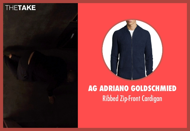 AG Adriano Goldschmied blue cardigan from Ex Machina seen with Oscar Isaac (Nathan)