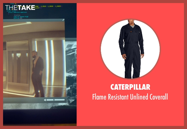 Caterpillar blue coverall from Ex Machina seen with Oscar Isaac (Nathan)