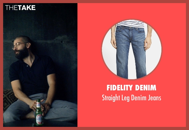 Fidelity Denim blue jeans from Ex Machina seen with Oscar Isaac (Nathan)