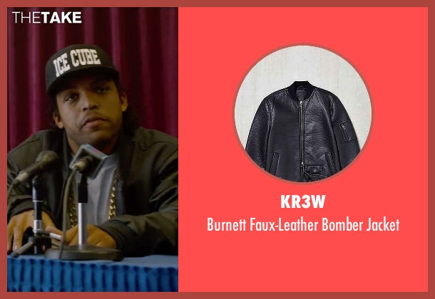 KR3W black bomber jacket from Straight Outta Compton seen with O'Shea Jackson Jr. (Ice Cube)