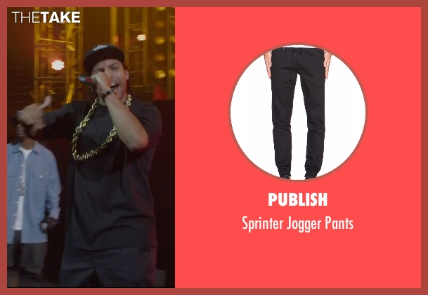 Publish black pants from Straight Outta Compton seen with O'Shea Jackson Jr. (Ice Cube)